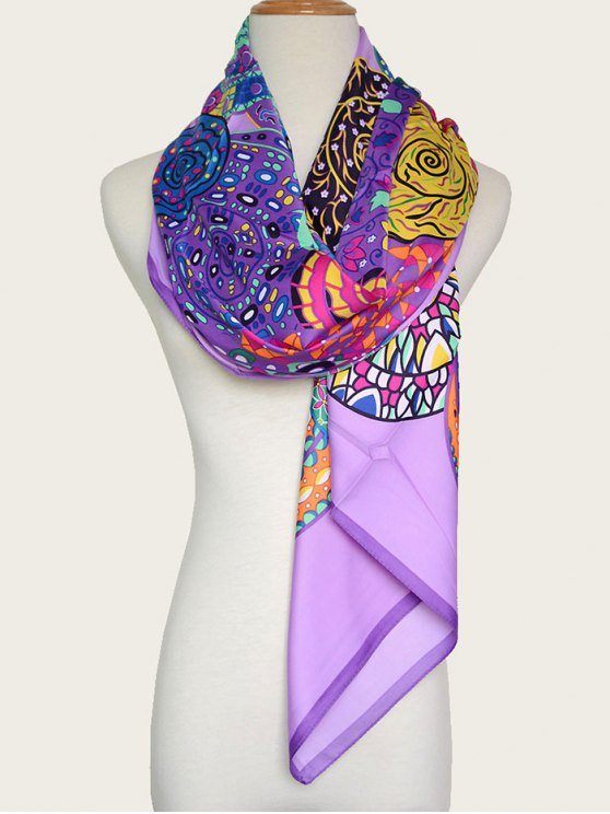 outfit Colorful Vortex Print Shawl Scarf - PURPLE