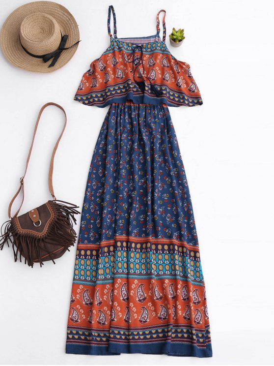 fashion Floral Layered Maxi Dress - BLUE M
