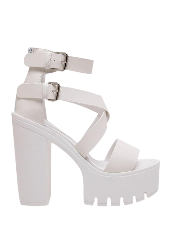 online Zipper Double Belt Buckle Cross Strap Sandals - WHITE 39