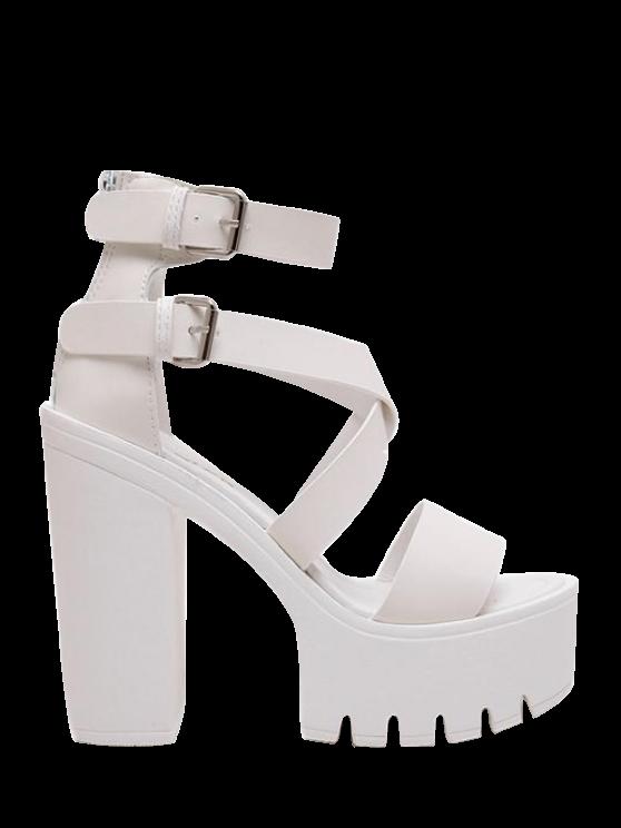 hot Zipper Double Belt Buckle Cross Strap Sandals - WHITE 38
