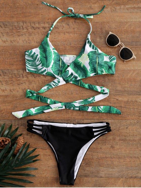 Bikinis imprimé palmier maillot de bain - Multicolore M