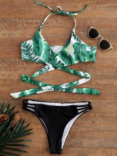 شجرة النخيل طباعة سترابي الرسن الأعلى بيكيني ملابس السباحة - M