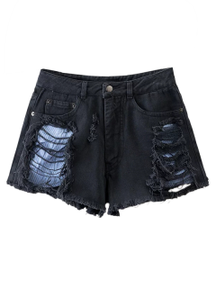 Cut-Offs Ripped Shorts - Black S