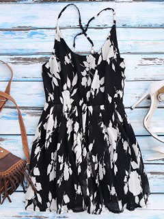 Floral Cross Back Beach Cami Dress - Black L