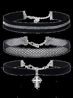 Crucifix Rhinestone Velvet Choker Necklace Set - Black