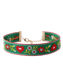 Heart Flower Embroidered Choker Necklace - Green