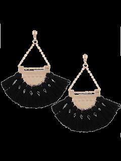 Alloy Triangle Tassel Drop Earrings - Black