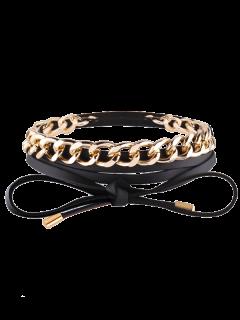Faux Leather Chain Wrap Necklace - Black