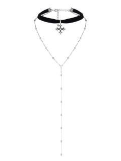 Layer Alloy Beaded Cross Choker - Silver