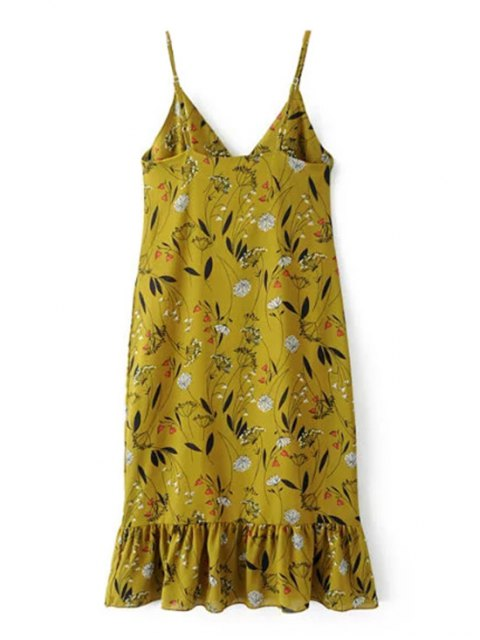 latest Ruffles Tiny Floral Cami Dress - BLUISH YELLOW S Mobile