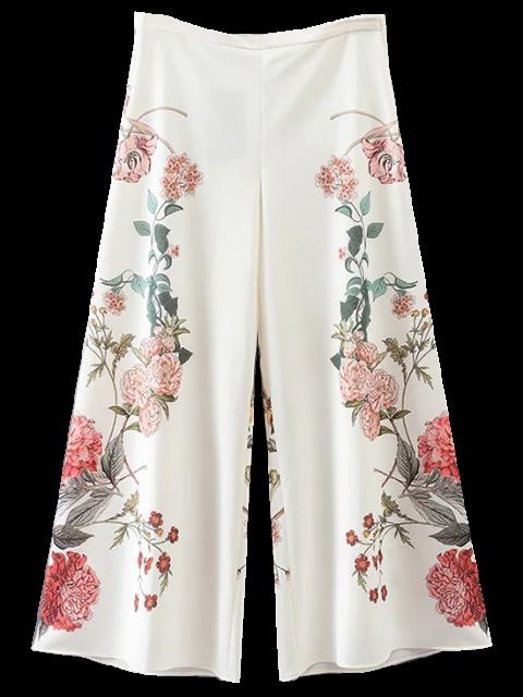 fancy Floral Culotte Pants - WHITE M Mobile