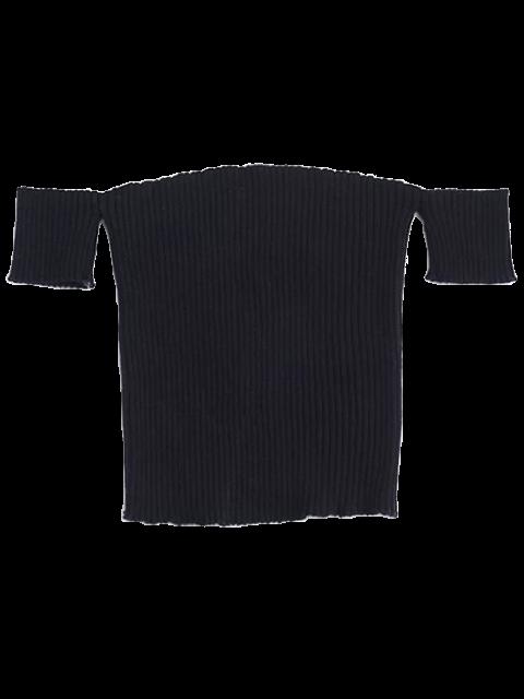 buy Fitted Off Shoulder Ribbed Knitwear - BLACK M Mobile