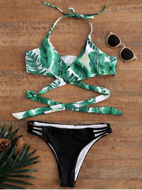 latest Palm Tree Print Strappy Halter Top Bikini Swimwear - COLORMIX S Mobile