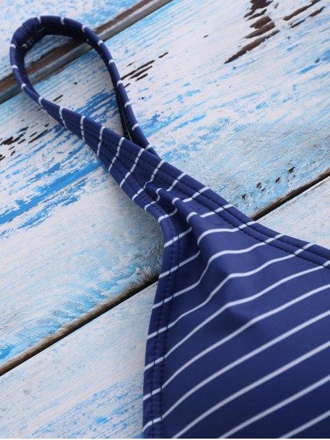 Bikinis à rayures bleu foncé col plongeant - Bleu XL Mobile