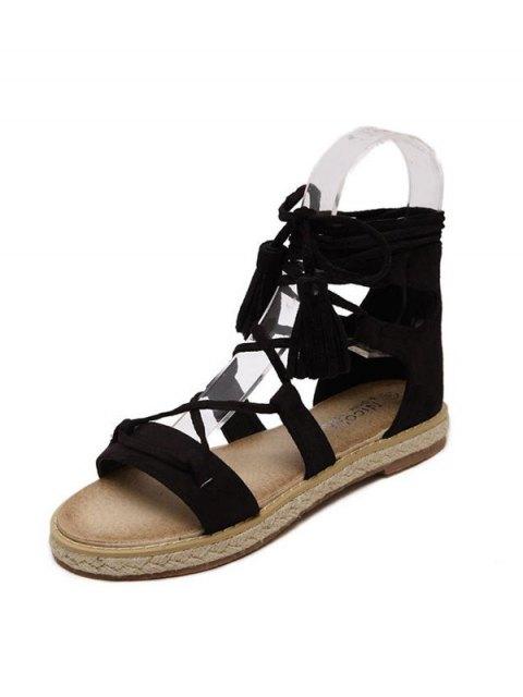 hot Tassels Lace Up Espadrilles Sandals - BLACK 38 Mobile