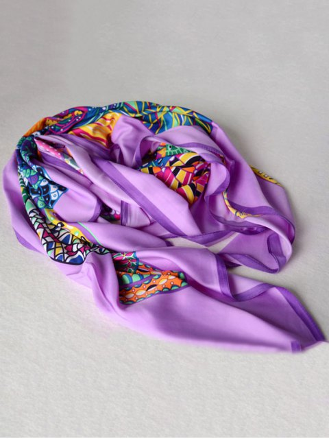 outfit Colorful Vortex Print Shawl Scarf - PURPLE  Mobile