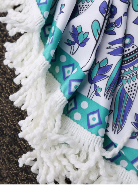 outfit Round Tassels Mandala Beach Throw - WHITE ONE SIZE Mobile