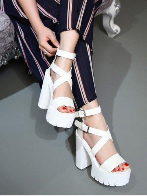 new Zipper Double Belt Buckle Cross Strap Sandals - WHITE 37 Mobile