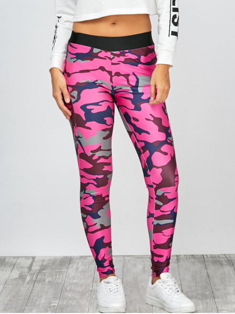 women's High Rise Camo Print Leggings - CAMOUFLAGE ROSE RED M Mobile