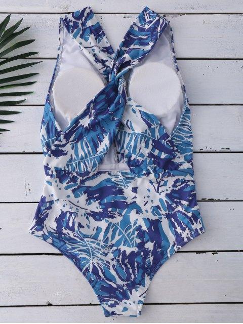 Maillots de bain à croisillons avec motifs abstraits - Bleu et Blanc XL Mobile
