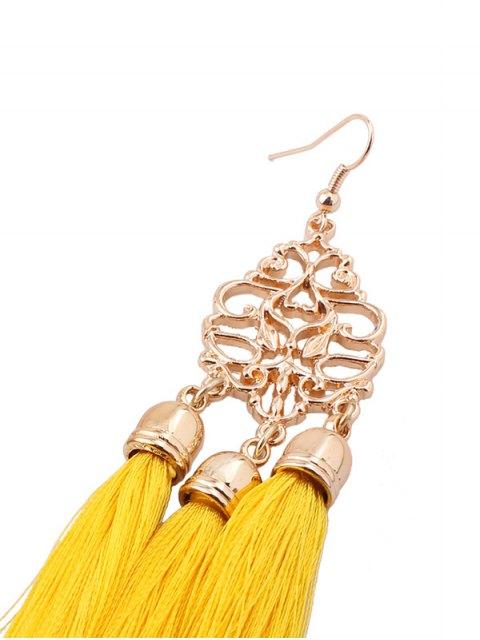 best Alloy Engraved Tassel Drop Earrings - YELLOW  Mobile