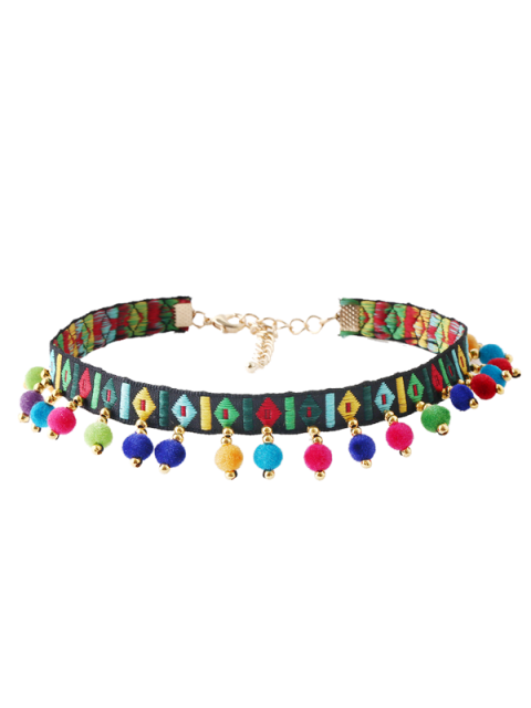 affordable Ball Geometric Embroidered Choker Necklace - MULTICOLOR  Mobile