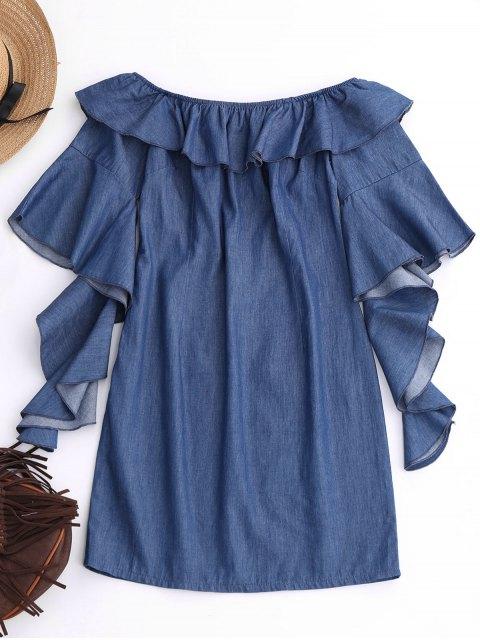 ladies Off The Shoulder Ruffles Mini Dress - DENIM BLUE XL Mobile