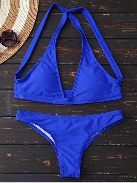 Ensemble de bikini à encolure plongeante et bretelles croisées - Bleu XL Mobile