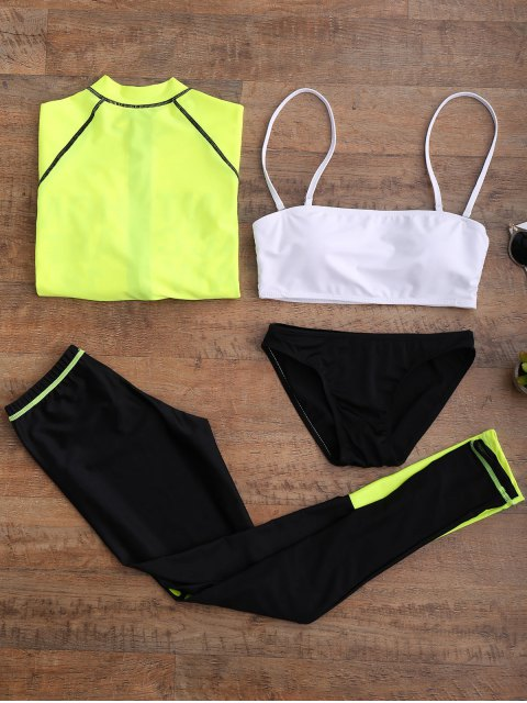 chic Graphic Front Zip 4 Pieces Wetsuit - FLUORESCENT YELLOW M Mobile