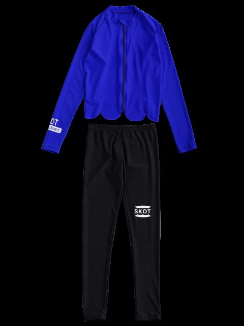 womens Graphic Zip Up 4PCS Wetsuit - BLUE M Mobile