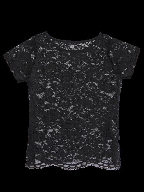 Haut en dentelle avec découpes festonnées - Noir S Mobile