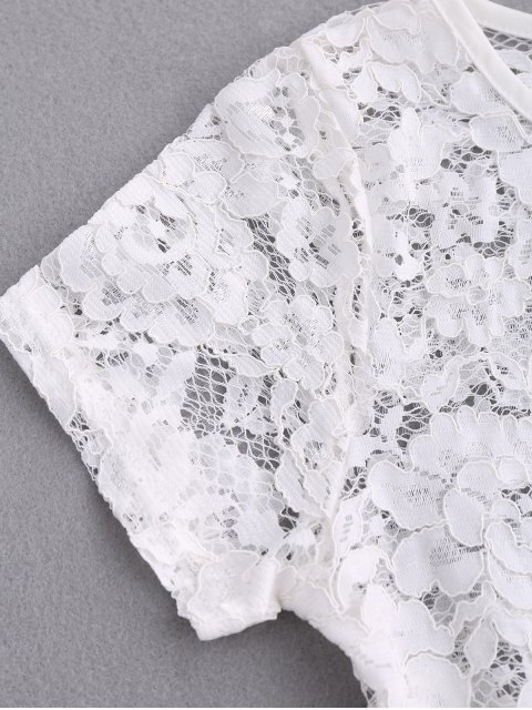 Haut en dentelle avec découpes festonnées - Blanc S Mobile