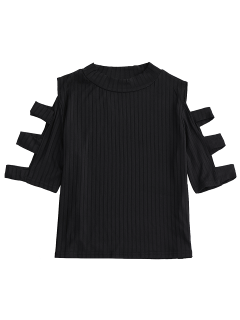 lady Cutout Ribbed Top - BLACK S Mobile