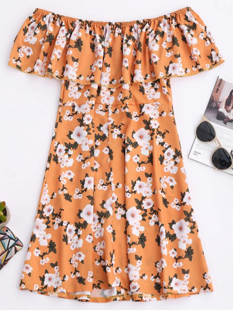 chic Floral Off The Shoulder A-Line Dress - EARTHY M Mobile