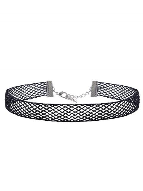 Jeu de colliers en velours et en maille à pendants crucifix de strass - Noir  Mobile