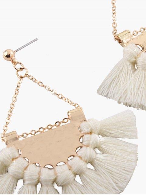 women's Alloy Triangle Tassel Drop Earrings - WHITE  Mobile