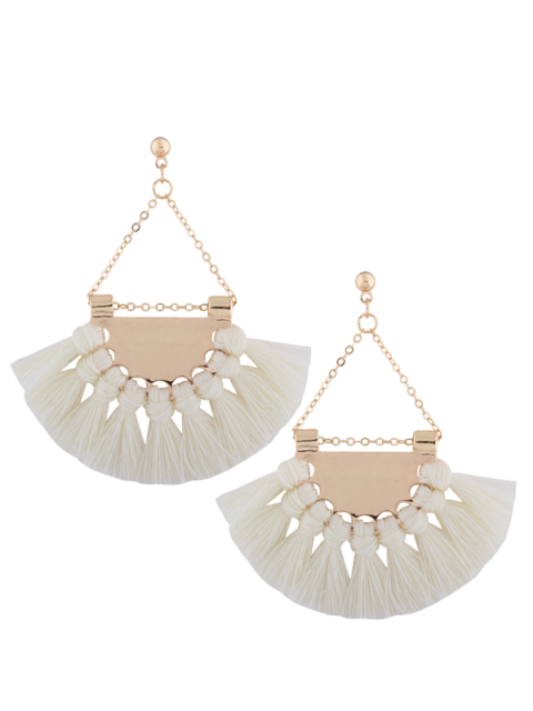 women's Alloy Triangle Tassel Drop Earrings - WHITE  Mobile