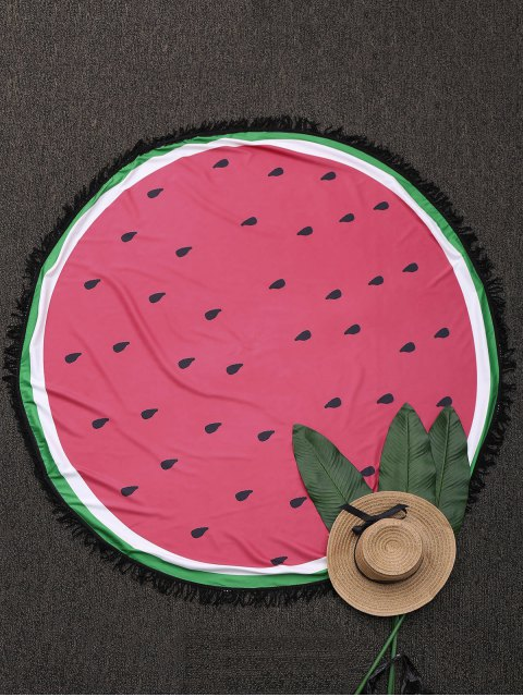 trendy Round Color Block Fringed Beach Throw - WATERMELON RED ONE SIZE Mobile