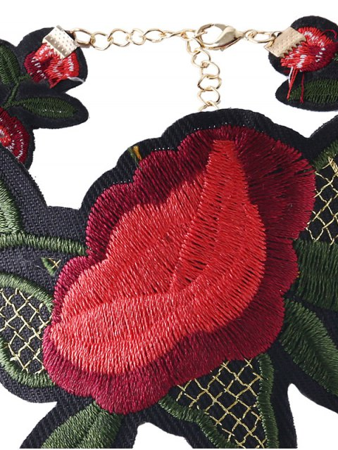 new Leaf Flower Embroidered Choker Necklace - RED  Mobile
