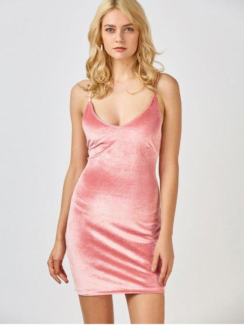 shops Velvet Cross Back Bodycon Mini Dress - PINK L Mobile