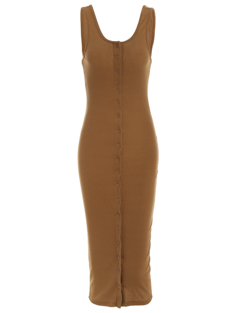 shops Knitting Button Up Bodycon Dress - CAMEL M Mobile