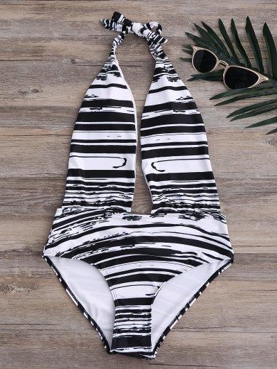 Stripe High Leg Sexy One Piece Bathing Suit - Black