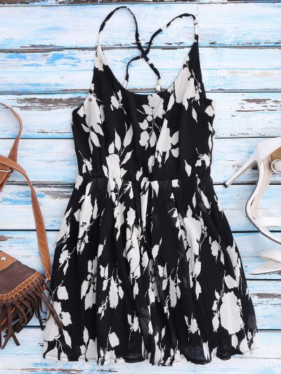 Floral Cross Back Beach Cami Dress - Black