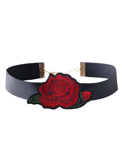 Floral Embroidered Choker Necklace - Red