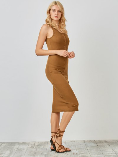 Knitting Button Up Bodycon Dress - Camel