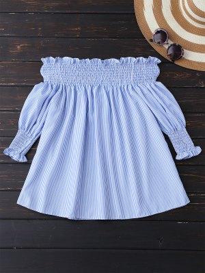 Batas Off La Blusa De Hombro - Azul Y Blanco