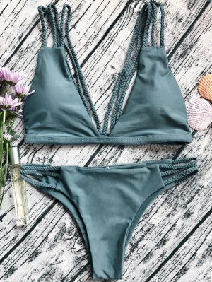 Low Cut Strappy Bralette Bikini - Army Green M