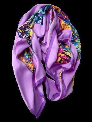 Colorful Vortex Print Shawl Scarf - Purple