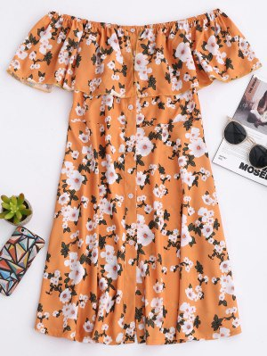 Floral Off The Shoulder A-Line Dress - Earthy