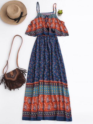 Floral Layered Maxi Dress - Blue